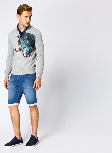 T-Box Baskılı Sweatshirt Füme